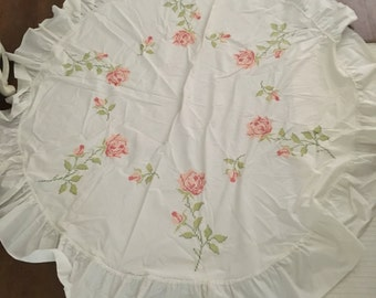 Vintage Pink And Red Rose Cross Stitched Ruffled Table Cloth