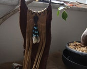 Chowilawu Hopi Joined together by water           Handmade brown deer Leather tribal gypsy fringe hoop dangle earrings