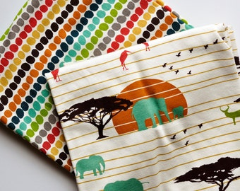 the serengeti plains swaddle blanket, organic cotton