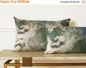 "ON SALE Abstract art plant motif  Vine / Linen Oblong Cushion 14""x 22"".  Green..  /  FRAGMENTS  Green decor"