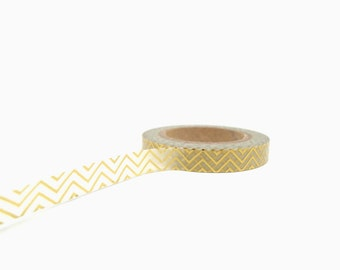 Gold Chevron Washi Tape, Metallic Gold Washi Tape 7.5mm