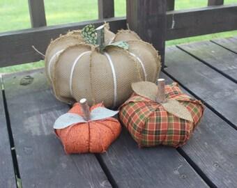 Burlap pumpkins, Fall decor, Farm house decor, Country, Shabby sheek country, primitive decor, shabby chic burlap