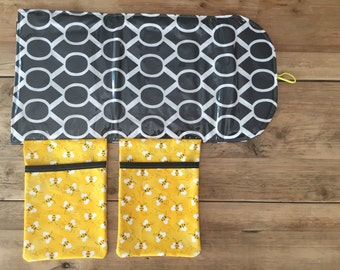 Travel Changing Pad - Diapering on the Go - Bumble Bee