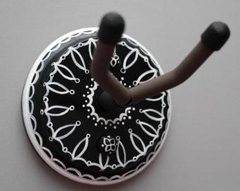 Black & White Instrument Wall Hanger Hook for Ukulele, Fiddle, Mandolin, Violin or Guitar - Ready to Ship
