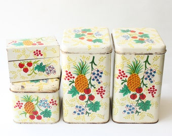 Vintage Cheinco Kitchen Storage Canisters - Aged White With Fruit Decals