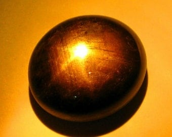 Large Black Star Sapphire Oval Cab, 16 x 14 mm ,19.82 Carats, Natural Gemstone, Thailand
