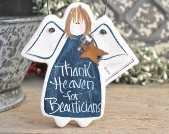 Beautician Angel Gift Salt Dough Birthday / Xmas / Thank You Gift Ornament