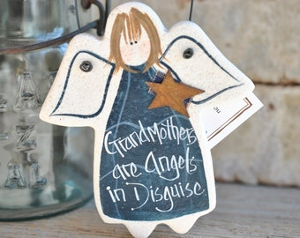 Grandmother Gift Mother's Day Angel Salt Dough Ornament Grandparents Day