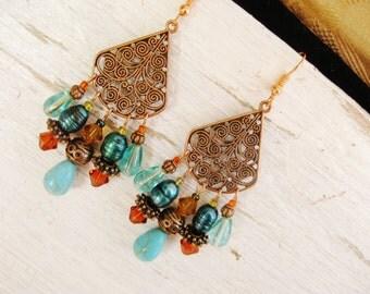 Copper bohemian earrings, Bohemian gypsy hippie long copper chandelier earrings with turquoise, pearl, copper and gold crystal