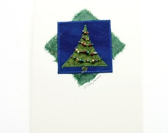 Greeting Card, Fiber Art Holiday Tree, Green Blue Beaded