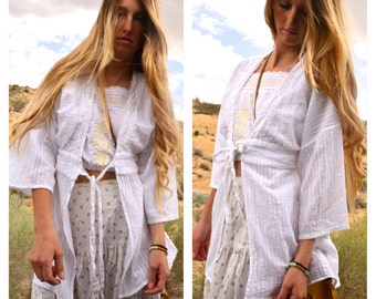 White Gauze Cotton Kimono Open Tie Front Top Beach Cover Up Coverup Crocheted Wide Sleeves Stripes Elan Medium