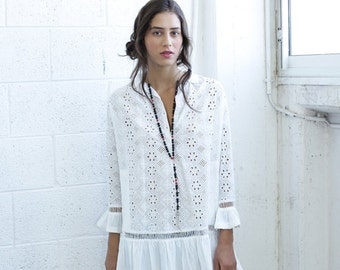 SALE  50 Off Summer SALE Embroidered Tunic Dress , White