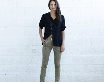 Women Trousers Pencil Skinny Pants, Olive
