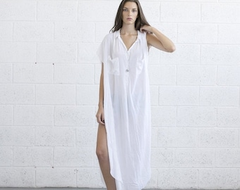 Valentines day Summer sale -Long White Kaftan Dress.