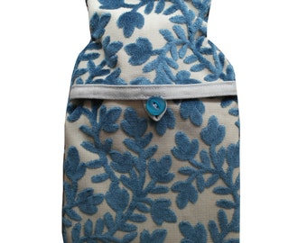 Hot Water Bottle and Cover in Textured Blue Flower Fabric