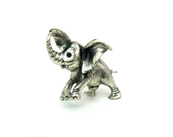 Danecraft Brooch. Sterling Silver Baby Elephant. 3D, Trunk Raised, Good Luck Pin. Vintage 1950s Mid Century Retro Figural Jewelry.