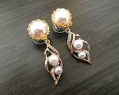 2g Dangle Plugs, 0g Ear Plugs, 4g Bridal Plugs 00g Gold Pearl Plugs 10mm 8mm 6mm 5mm 4mm Gauge Formal Wedding Crystal Dangle Ear Plugs