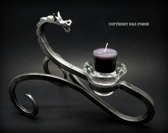 DRAGON CANDLE HOLDER Hand Forged and Signed by Artist Blacksmith Naz - Table Top Candles - Dragons - Original & Unique Gift Idea - Wedding