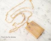 Large gold antique locket, Gold rectangular locket, Two Girls Gems