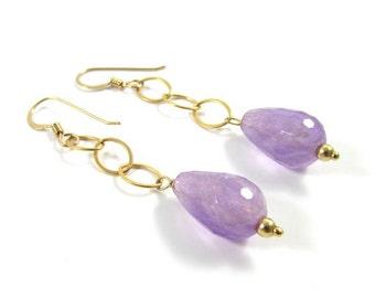 Lavender Amethyst Gemstone Drop Earrings, Gold Chain Dangle, Simple Elegant Jewelry,  Gift Idea, February Birthstone, Handmade Maui