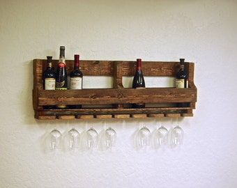 """Reclaimed pallet Wine rack Caddy rustic kitchen farmhouse Furniture with wine glass holders boho primitive 10 bottle wine 40"""" countryside"""
