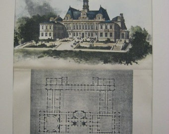 Rhode Island State House, Providence, Rhode Island, 1892. Hand Colored, Original Plan, Architecture, Vintage, Antique, Historic