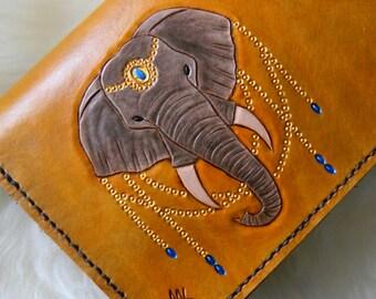 Ready to ship! Leather Elephant Clutch Purse. Hand Carved Leather Elephant Clutch. Leather Clutch Purse. Gold Elephant Clutch Purse
