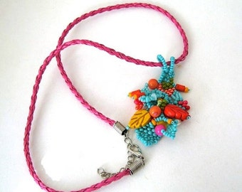 Christmas in July ON SALE Colorful necklace, Boho beaded necklace, Handmade gift for her, Freeform necklace, Summer gifts for her