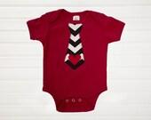 Boys Valentines Chevron Tie Bodysuit Boys Tops Kids Boys Clothing Kids  Available 0-3 months through Size 10/12