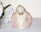 "Fenton Burmese Guardian Angel With Floral Wings, Gold Trim / Signed P. Lane / Hand Painted / 3.5"" Tall"