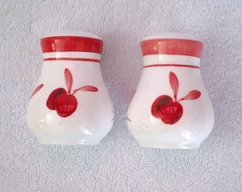 Vintage DANSK Dark Red and White Cherry Salt & Pepper Shakers / Ceramic With Stoppers / Clean, Excellent Condition