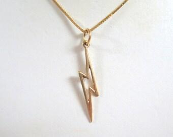 14k Gold Lightning Pendant / Charm