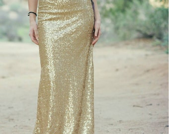 Light Matte Gold Maxi - Gorgeous high quality sequins- Long sequined skirt - S, M, L, XL (Handmade in LA!)
