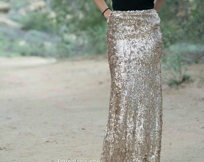 Champagne Maxi - Gorgeous high quality dangly sequins- Long sequined skirt (s,m,l,xl) Handmade in LA!