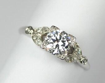 Art Deco Platinum Engagement Ring .81 Carats