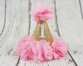 first birthday girl hat, 2nd birthday girls hat, pink and gold birthday hat, 1st birthday hat, baby girl birthday hat, number hat, pink