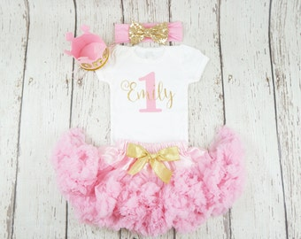 girl birthday outfit, pink birthday outfit, first birthday, gold glitter shirt, 1st birthday shirt, 1st birthday girl outfit, pink and gold