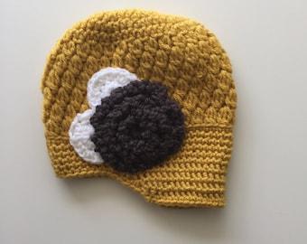 Crochet Flower Beanie 6-12 MONTHS