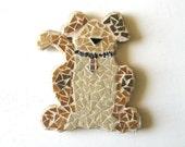 Mosaic Dog Coaster, large dog magnet, coffee table coaster, dog display piece