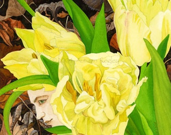 Under Mast - Matted Digital Print of Tulip Fairy Watercolor Painting - 11x14 inches