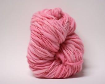 Thick Thin Yarn Hand Spun Merino Bulky Wool Slub  Hand Dyed tts(tm) Pink Lemonade 000x