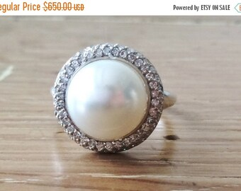HUGESALE Pearl and Diamond Halo Ring - Silver Pearl Ring - Large Pearl Ring - Pearl Jewelry - Artisan Jewelry - Gift for Her - Cocktail Ring