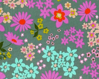 Playful LAWN Vintage Flora in Aqua, Melody Miller, Cotton+Steel, RJR Fabrics, Cotton Lawn Fabric, 0016-21