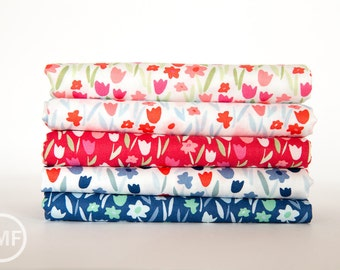 Aria Abloom Half Yard Bundle, 5 Pieces, Kate Spain, 100% Cotton, Moda Fabrics, 27236