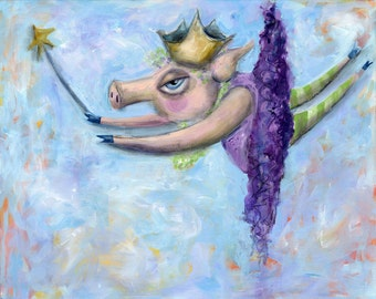 Flying Pig Fairy-Art Print on paper-whimsical pig-animal-farm-when pigs fly-Archival print-swine-piglet-fairies-Purple tutu-Home decor-gift
