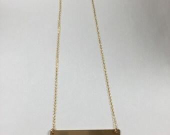 Gold Flat Bar Necklace
