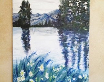 Lake tree oil painting, original large oil painting, lake and mountain landscape