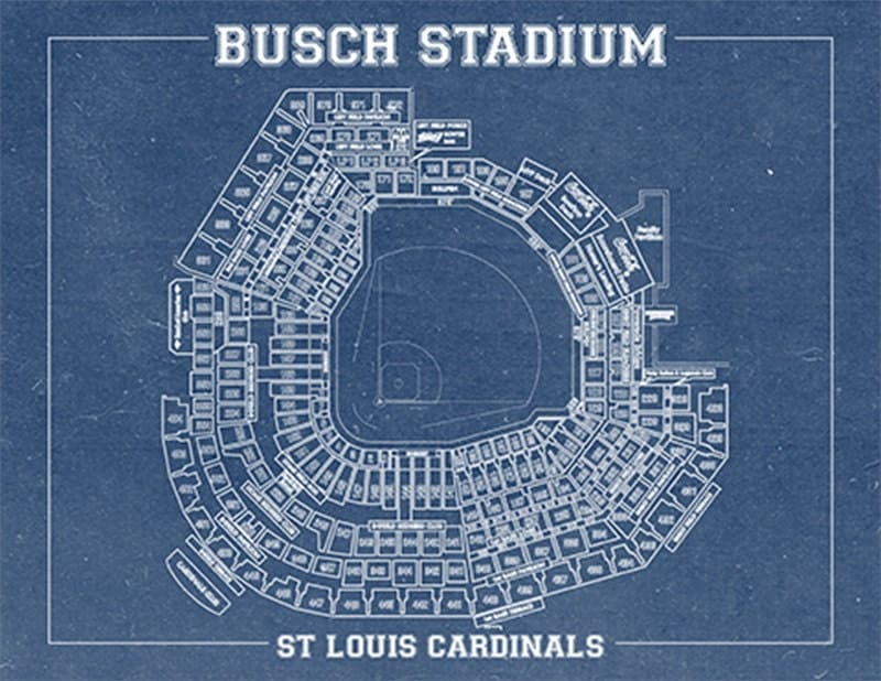Busch stadium vintage baseball field print blueprint photo paper busch stadium vintage baseball field print blueprint photo paper matte or canvas sports cardinals st drawing memorabilia wall art decor malvernweather Gallery