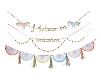 I Believe In Unicorns Banner Set - Unicorn Party Banner Decoration Birthday Decor