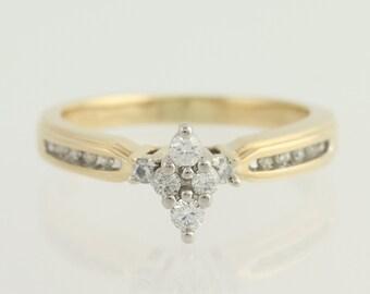 Diamond Engagement Ring - 14k Yellow & White Gold .25ctw Unique Engagement Ring L9307